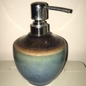 Blue Brown Ceramic Soap Lotion Dispenser